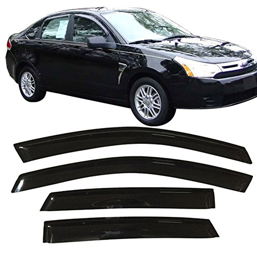 Ford Focus 4dr Sedan (Window Visor Fits 2008-2011 Ford Focus | Slim Style Smoke Tinted Semi-Transparent Acrylic Shade Rain Sun Guard Wind Vent Air Deflector by IKON MOTORSPORTS | 2009 2010)
