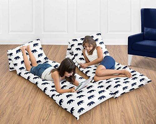 Sweet Jojo Designs Navy Blue and White Kids Floor Pillow Case Lounger Cushion Cover for Big Bear Collection (Pillow Not Included) - Bears Floor Pillow