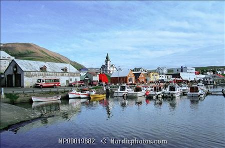 Town Docks (Boats by the dock in town Husavik, Iceland 30x40 photo reprint)