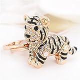 Cute Tiger Sparkling Charm Blingbling Keychain Crystal Rhinestone Pendant (White)