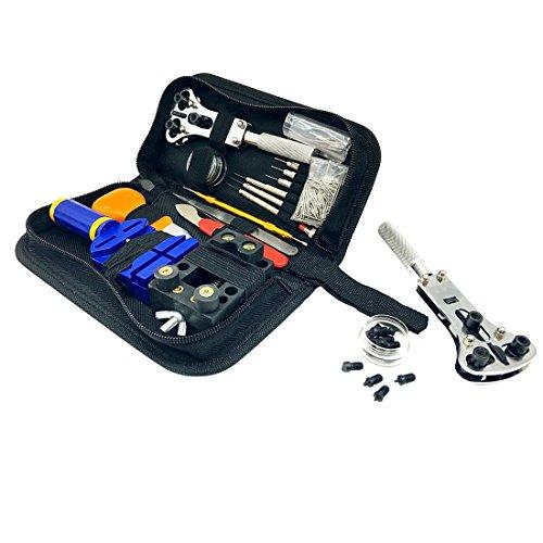 Geepro 138pcs Uhrmacherwerkzeug Uhr Werkzeug Tasche Reparatur Set Uhrwerkzeug Gehäuse Öffner in Nylontasche watch tool