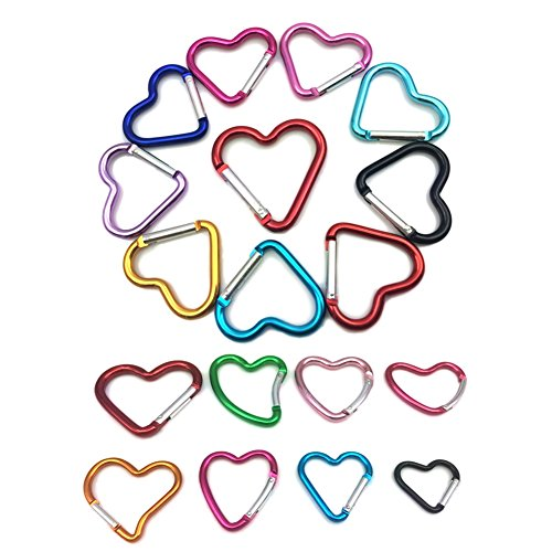 Heart Shaped Clip (1 1/2 Inch Aluminum Alloy Heart Shaped Carabiner Hook Clip Key Holder, 6 Piece)