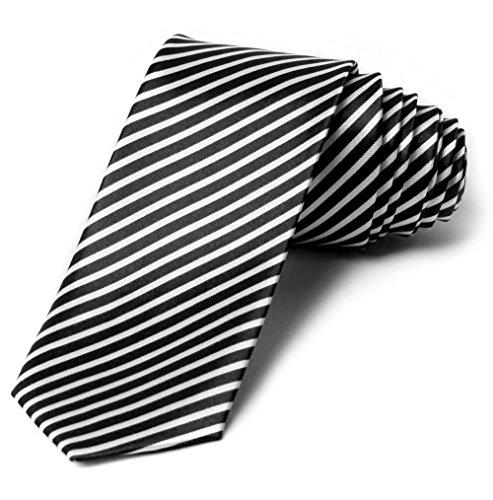 2' Trendy Skinny Tie - Blank White Diagnal Stripe Thin