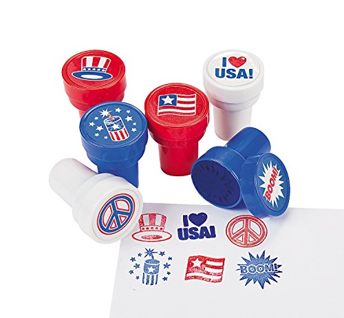 24 Piece Patriotic 4th of July Stamper Party Favor Supplies Assorted For Kids Arts and Crafts ()