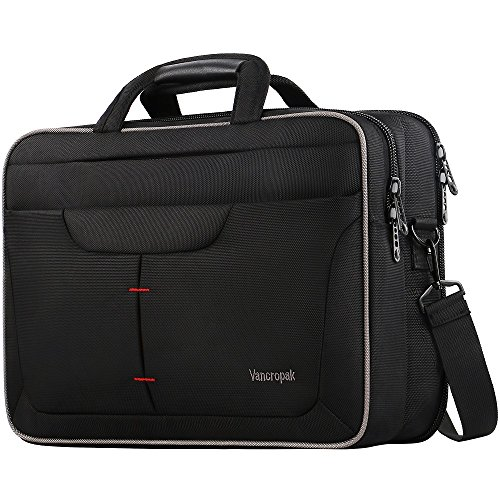 Laptop Briefcase, TSA Computer Messenger Bag, Water Rasistant Durable Office Laptop Bag with Checked Point Friendly Design, Nylon Business Shoulder Notebook Case for Men Women Unisex-Black-15.6 inch