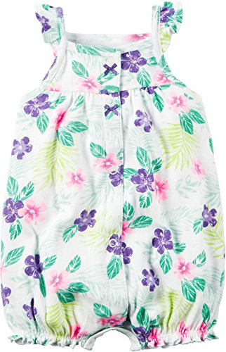 Carters Baby Girls Snap-Front Printed Romper Floral White 9M by Carter's
