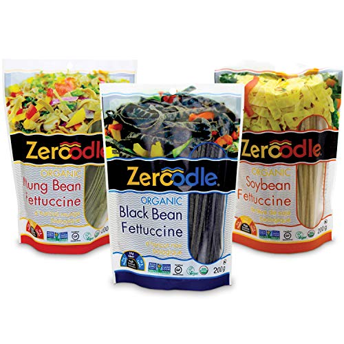 (Zeroodle 3-Pack Combo Low Net Carb Gluten Free Pasta - Organic Fettuccini Noodles - Mung Bean, Black Bean, and Soybean Pasta - High Protein)