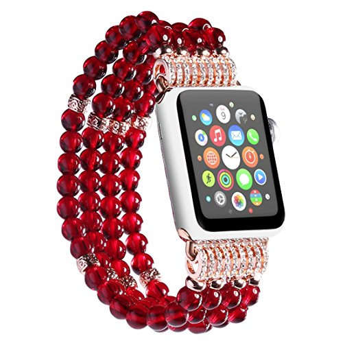 (dufu-beauty-store for Apple Watch Band, Elastic Wristband Faux Pearl Beaded Bracelet Replacement iWatch Strap Rhinestone Protective Case for Apple Watch 42mm,Red)