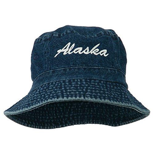 e4Hats.com Alaska Embroidered Pigment Dyed Bucket Hat - Denim -