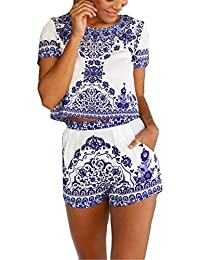 Women's Blue White Short Sleeve Floral Crop Top With Shorts 2 Pieces