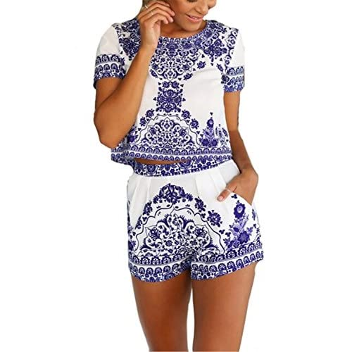 AvaCostume Women's Blue White Short Sleeve Floral Crop Top With Shorts 2 Pieces free shipping