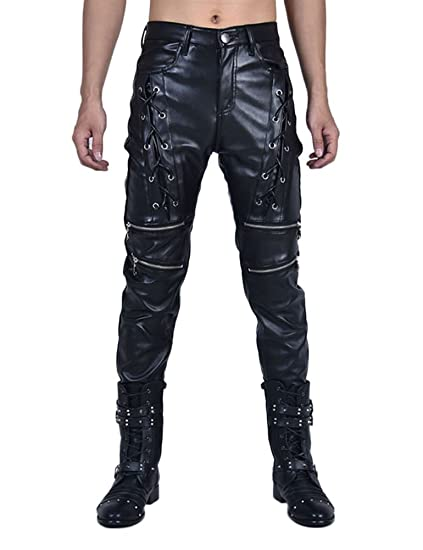 big discount of 2019 choose clearance durable in use Idopy New Men`s Biker Style Black Faux Leather Trousers Front Lace UP Pants