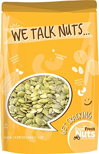 Farm Fresh Nuts PEPITAS SHELLED / PUMPKIN SEEDS Himalayan Salted Dry Roasted (1 LB) (Pepitas Pumpkin Seeds)
