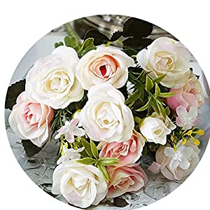 13 Heads/Bouquet Artificial Flowers Small Bud Silk Roses Simulation Flowers Green Leaves Home Vases Autumn Decor for Wedding 18