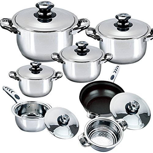 Riwendell Stainless Steel 13 piece Cookware Sets with Thermometer (GS-01015K-13PC)