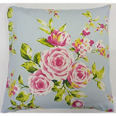 SHABBY PINK BLUE ROSE FLORAL COTTON CHIC CUSHION COVER 18  TO MATCH CURTAINS/DRAPES/DUVET
