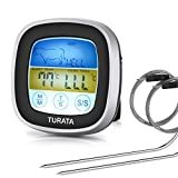 Meat Thermometer Turata Digital Instant Read Food Thermometer Touchscreen Cooking Thermometer Clock Timer with 2 Probes for Grill BBQ Kitchen Oven Smoker
