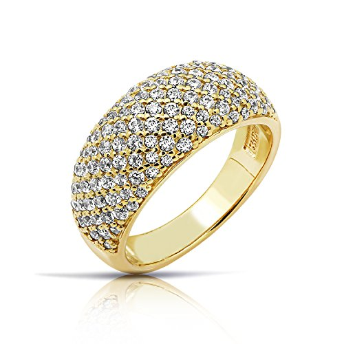 Diamonbliss Sterling Silver or 14K Yellow Gold Clad Pave Dome Ring - 14K Yellow Clad, Size 5