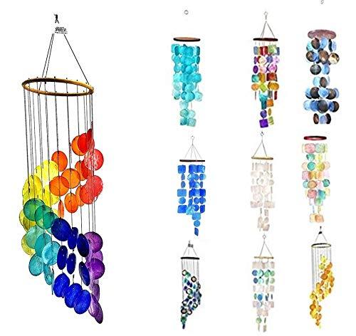 (Bellaa 23325 Capiz Wind Chime Rainbow Spiral Handmade 26 inch)