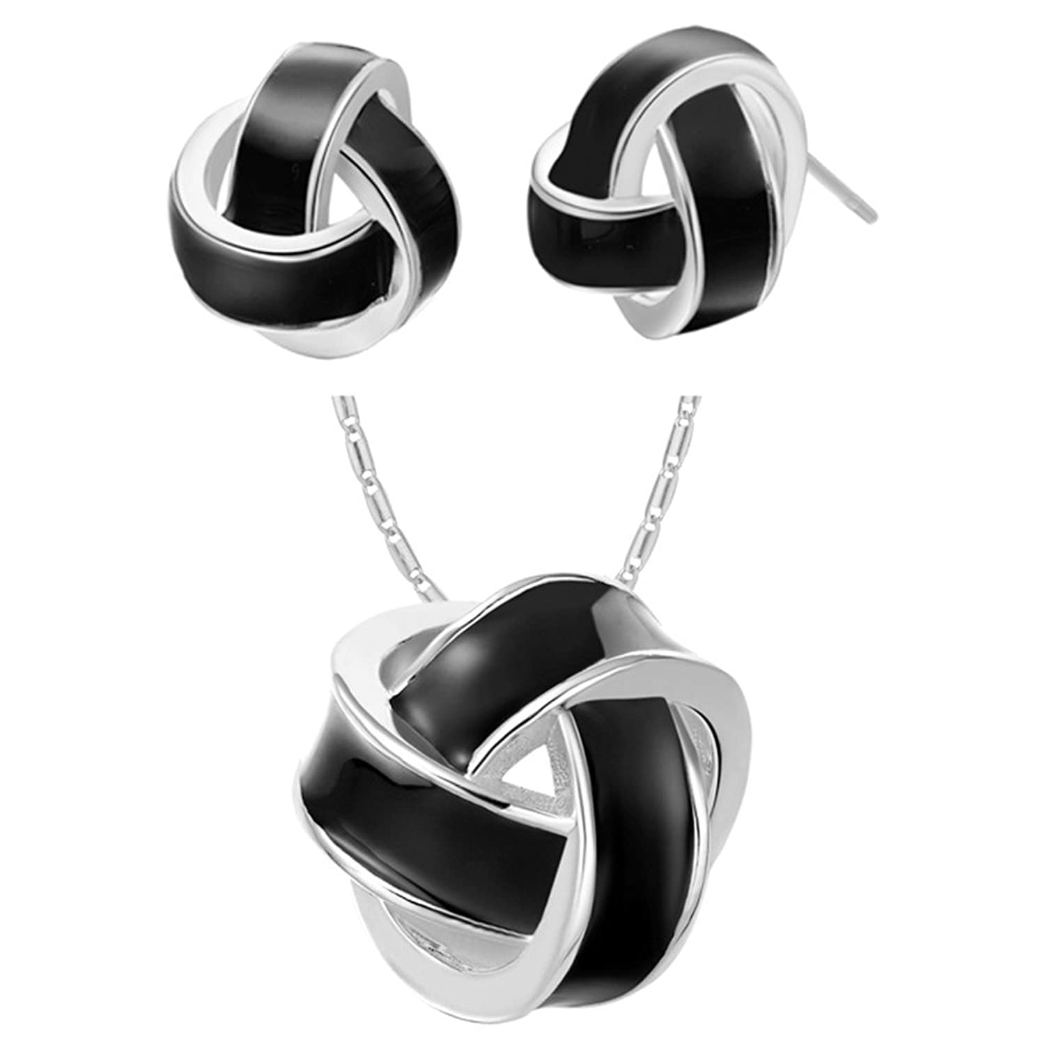 Onefeart White Gold Plated Necklace Pendant Earrings Jewelry Set For Women Girl Twisted Black Circle