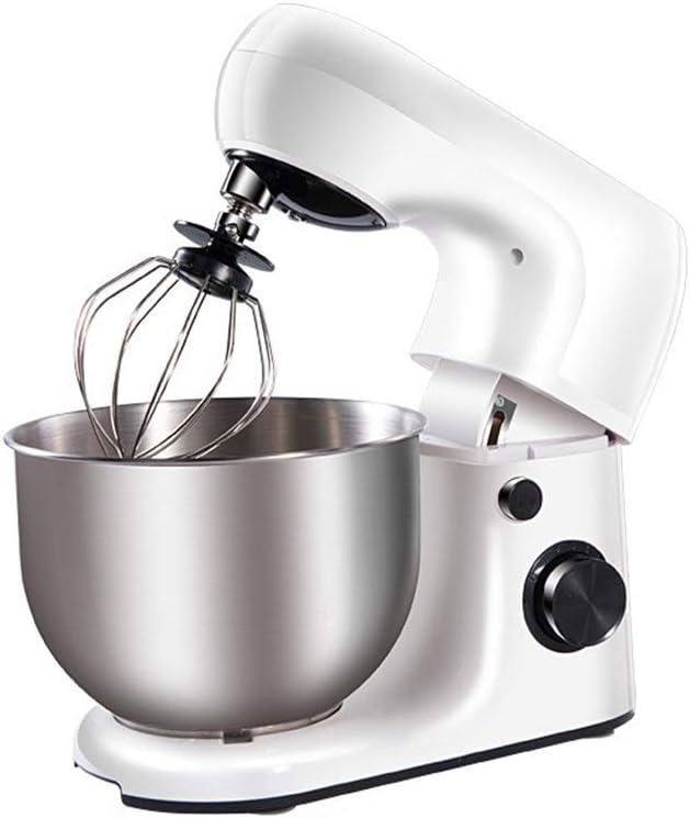 Luckm Batidora De Pie Potente Elegante Robot De Cocina De Blanco, con Batidor, Gancho Amasador, Bata Y 5L Bowl, 800W: Amazon.es