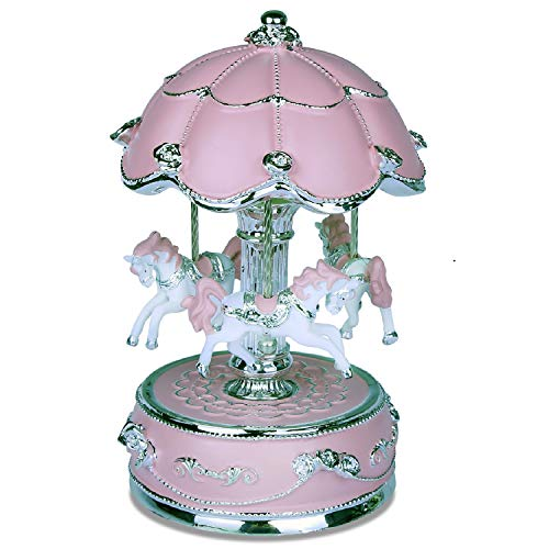 J house lifestyle Carousel Music Box,Carousel Horse Music Box,Merry Go Round Music Box Carousel Music Boxes for Girls Granddaughters - Extra Large Pink