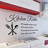 kitchen rules vinyl wall stickers quotes for kitchen room indoor wall art decor diy removable