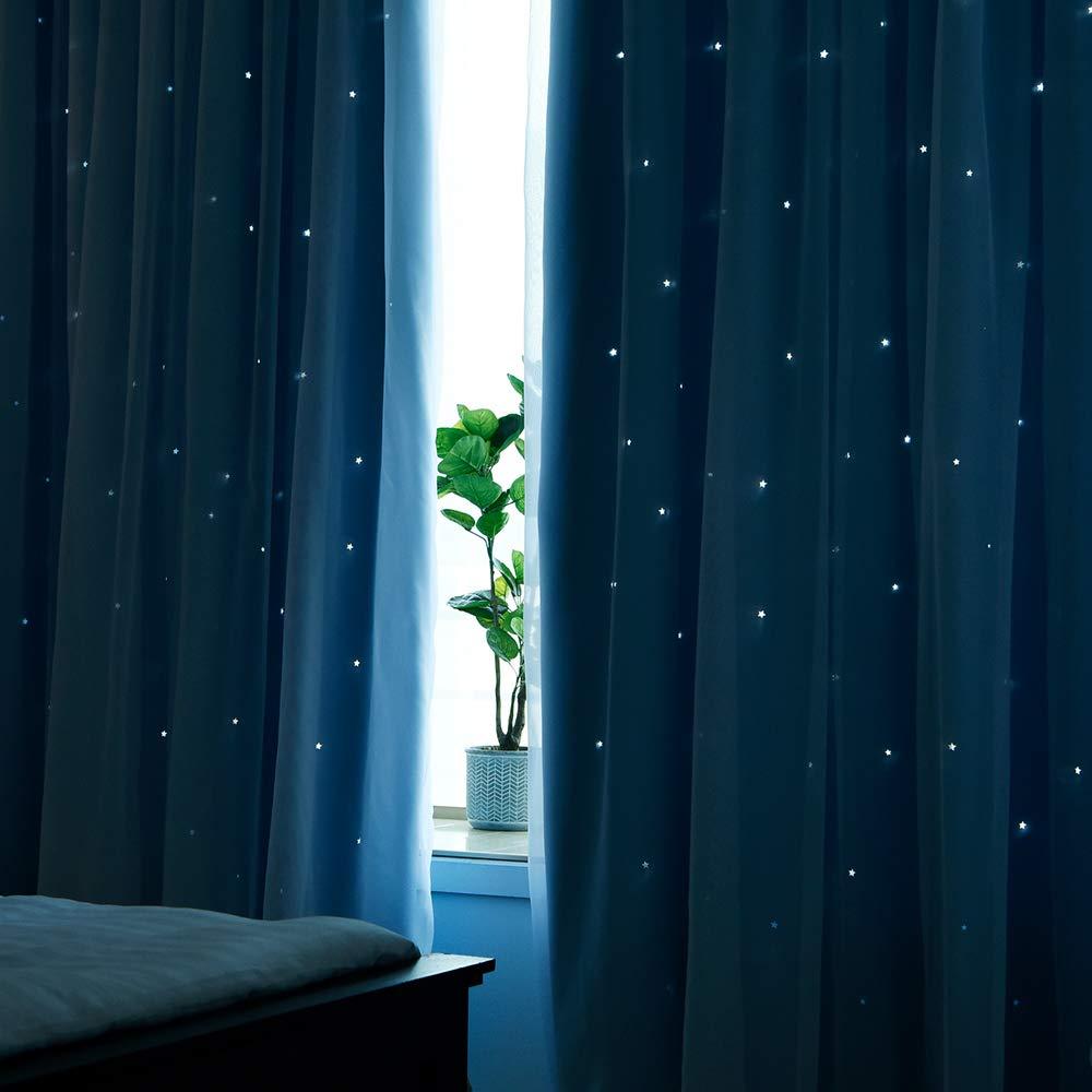Hohle Sterne Vorhang /& Voile Gardinen f/ür Kinderzimmer Dekoschals NICETOWN 2er Set Kindervorh/änge Junge /Ösenschal Himmelblau H 213 x B 132 cm