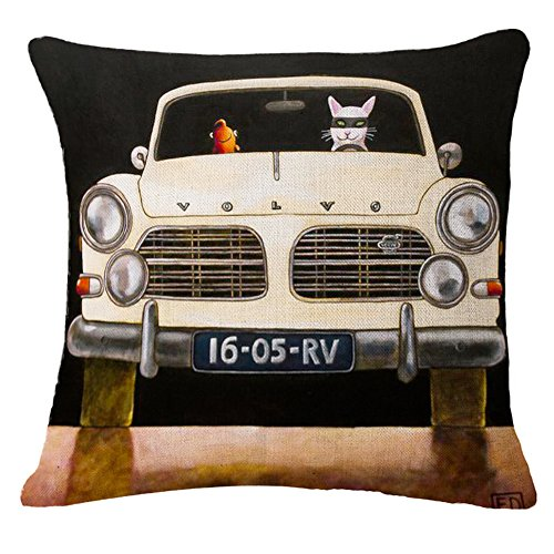 MHB Chair Cushion Covers Painted Volvo Car and Cat Square Throw Pillow Case Durable 18x18 Inch