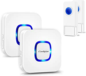 Wireless Doorbell Kit, Coolqiya Wireless Doorbells Chimes for Home with 2 Remote Door Bell Buttons Waterproof and 2 Plug in Receiver
