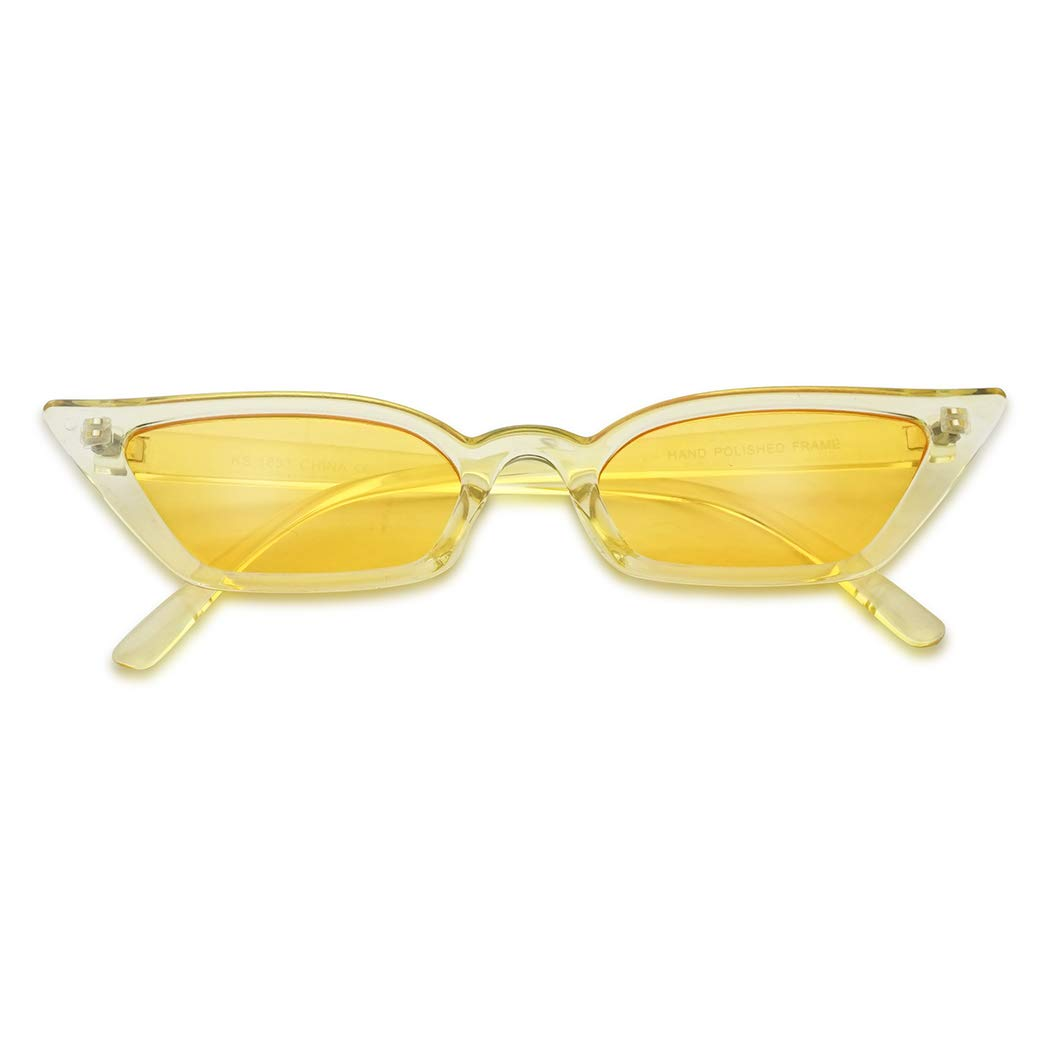 Amazon.com: Small Tiny Narrow Vintage 1990s Squared Semi Cat Eye Sun Glasses Candy Color Translucent Clout Goggles (Acrylic Yellow): Clothing