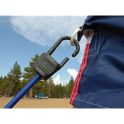 Heavy Duty Bungee Cords with Hooks Proudly Made in The USA by Super Smithee Securing Straps for Luggage Durable Metal Clip Fasteners with Robust Tie Down Fiber