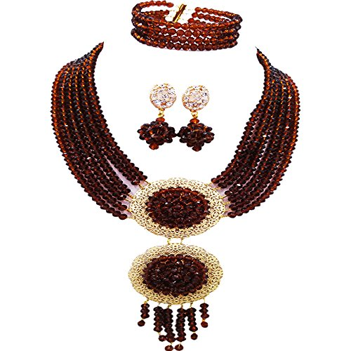 acuzv 6 Rows African Necklaces for Women Nigerian Beads Jewelry Set Wedding Bridal Party Jewelry Sets (Brown) ()