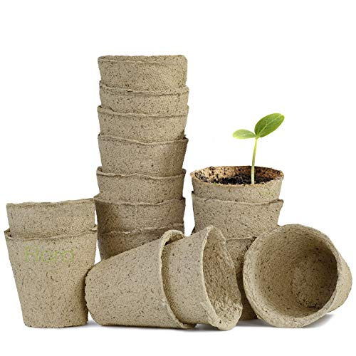 "- Seed Starter Peat Pots Kit - 15 Pack of 4"" Round, Biodegradable Seedling Planters from Floro - Reduces Plant Transplant Shock - Encourages Germination in Flowers, Fruits, Vegetables, Herbs and More"