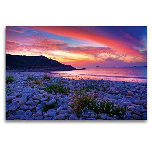 Premium Textil de lienzo 45cm x 30cm Horizontal Sehnsucht Bretagne–Color Soberbio puesta del sol en la playa de guerzit département finistére, 120 x 80 cm por Stefan Sattler