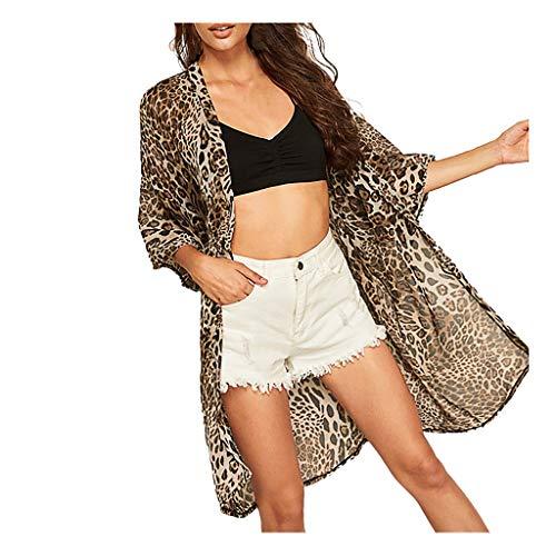 (Sallymonday 2019 Summer New Cardigan for Women Half Sleeve Chiffon Leopard Print Cardigan Smock Easy Blouse Tops Khaki)