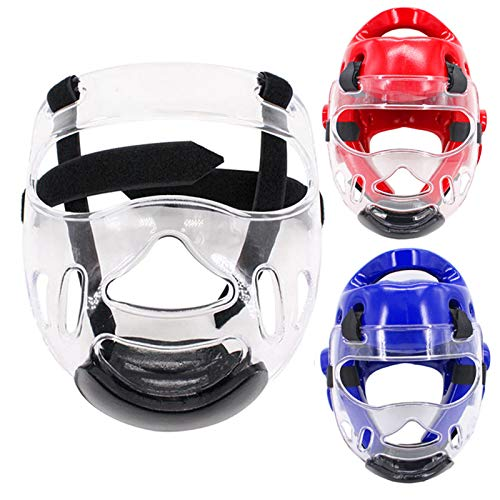 (Outgeek Sport Clear Face Shield, Fansport Head Protective Gear Detachable Transparent Taekwondo Helmet Mask for Men Women(1)