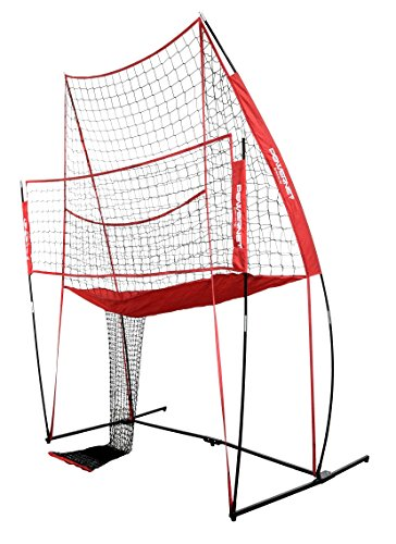 PowerNet Volleyball Practice Net Station | 8 ft Wide by 11 ft High | Ball Return | Great for Hitting and Serving Drills | Perfect for Team or Solo Training | Three Minute Setup | Bow Style Frame