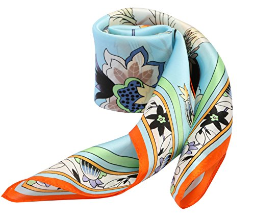 Floral Prints 100% Silk Scarf Neckerchief Small Square Scarves Women (Spring Blooms Light Blue)