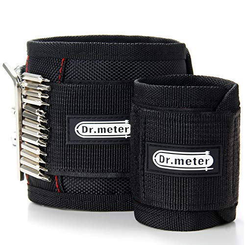 Dr.meter 2 Sizes of 10.6 & 18.9 Inches Length Magnetic Wrist Bands Tool Belt with Super Strong 15 Magnets, 2.2lb Capacity for Holding Screws Bolts Nails and Drill Bits-[2 Packs] ()