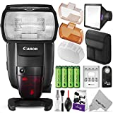 Canon Speedlite 600EX II-RT Flash for Canon DSLR Camera w/ Essential Bundle – Includes: AA Rechargeable Batteries w/ Charger, Softbox Flash Diffuser, Wireless Remote Control, Camera Cleaning Set