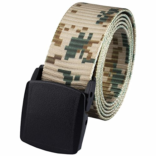 squaregarden Men's Nylon Webbing Military Style Tactical Duty Belt - Woodland Nylon Belt