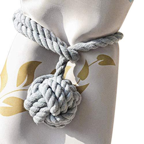 BTSKY 2 Pieces Curtain Rope Holdbacks- Decorative Hand-Knitted Cotton Window Curtain Tiebacks (Grey)