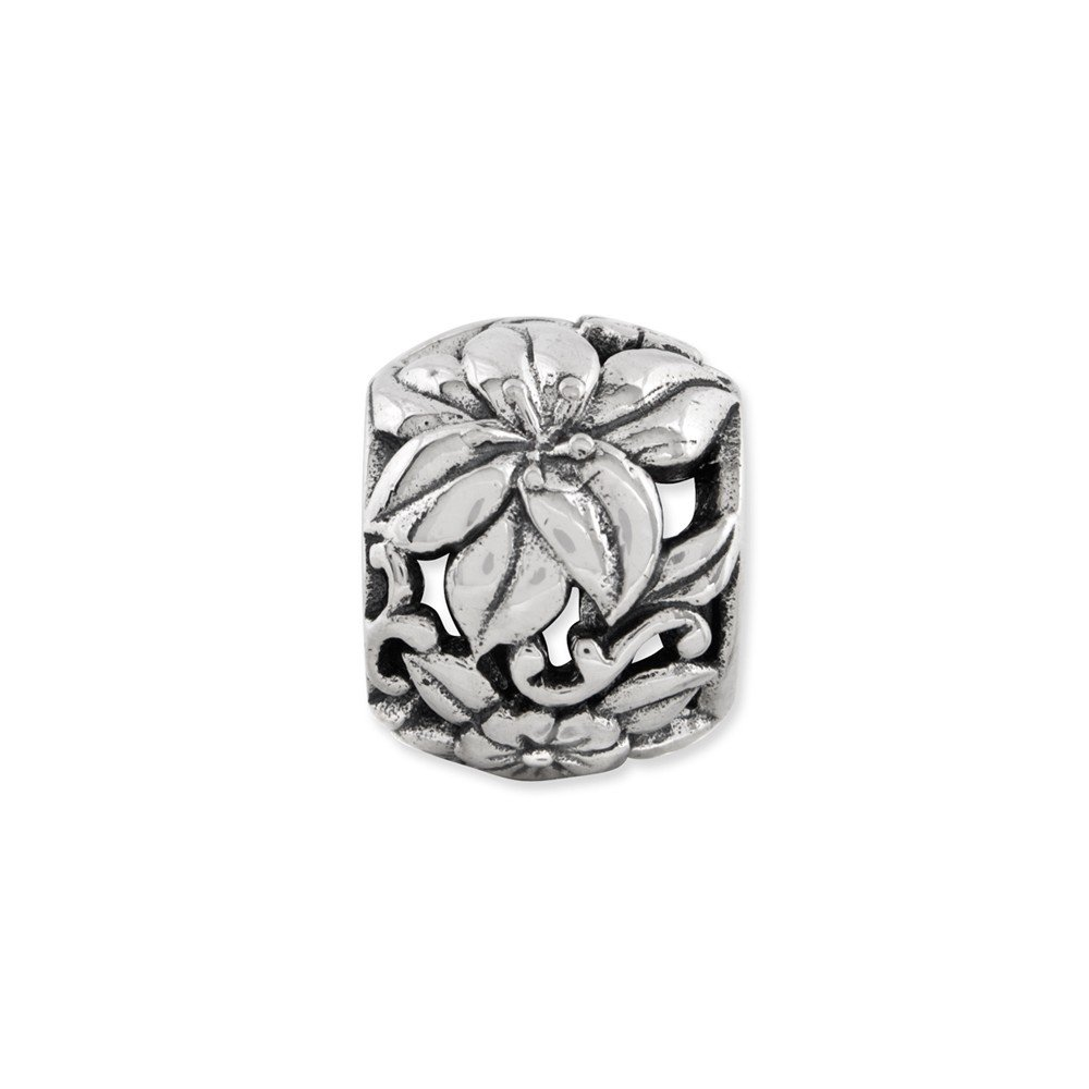 FB Jewels Solid 925 Sterling Silver Reflections Floral Bali Bead