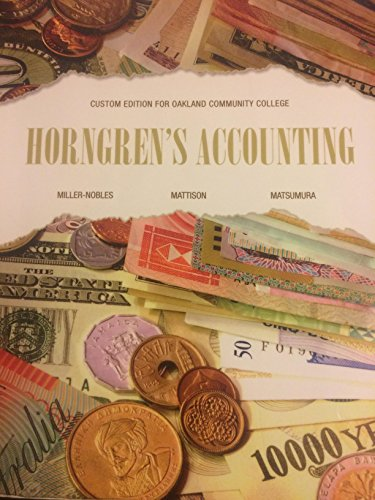 Horngren's Accouting 11th Edition (Custom Edition for Oakland Community College)