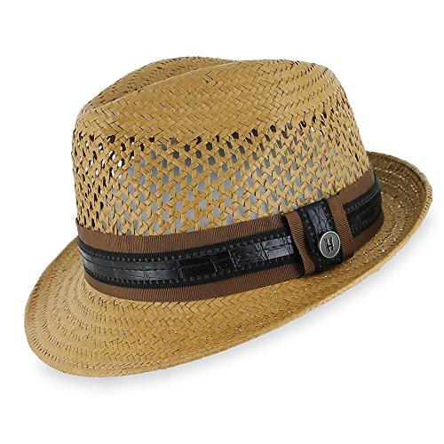[Belfry Street Gomez - Straw Fedora (Large)] (Ganster Hat)