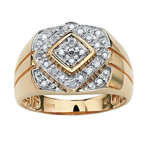 (Men's Round White Diamond 10k Gold Geometric Ring (.26 cttw, HI Color, I3 Clarity))