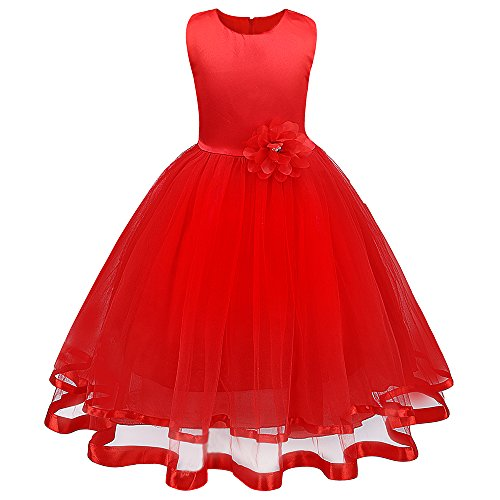 (Mary ye Little Girls' Flower Ball Gown Party Wedding Tulle Ruffle)