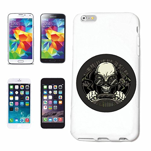 "cas de téléphone iPhone 6+ Plus ""VINTAGE SKULL BIKER SHIRT BIKE GOTHIC CLUB MC MOTO CHOPPER CUSTOM MOTO MOTO CLUB REUNION REUNION"" Hard Case Cover Téléphone Covers Smart Cover pour Apple iPhone en bla"