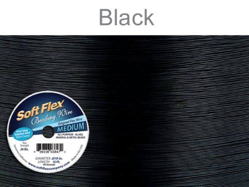 Soft Flex Beading Wire, Black, .019 Inch, 30 Feet | BDC-419.23 (Black Beading)